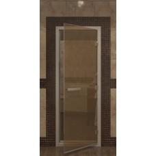 Дверь 1900х700 Doorwood в хаммам, стекло бронза,коробка из кедра